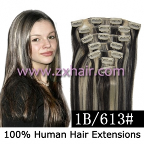 "Wholesale 22"" 7pcs set Clips-in hair 80g remy Human Hair Extensions #1B/613"