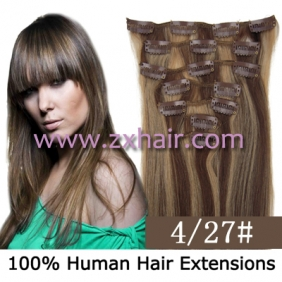 "Wholesale 22"" 7pcs set Clips-in hair 80g remy Human Hair Extensions #4/27"