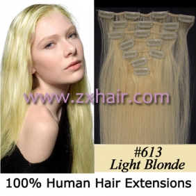 "Wholesale 22"" 7pcs set Clips-in hair 80g remy Human Hair Extensions #613"