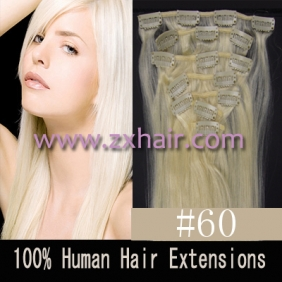 "Wholesale 22"" 7pcs set Clips-in hair 80g remy Human Hair Extensions #60"