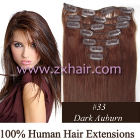 "Wholesale 22"" 7pcs set Clips-in hair 80g remy Human Hair Extensions #33"