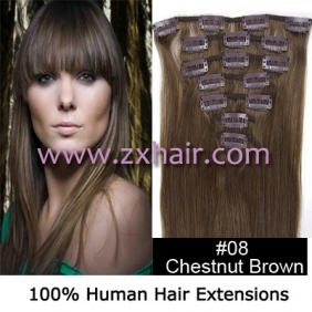 "Wholesale 22"" 7pcs set Clips-in hair 80g remy Human Hair Extensions #08"