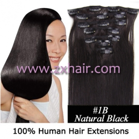 "Wholesale 22"" 7pcs set Clips-in hair 80g remy Human Hair Extensions #1B"