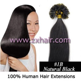 "Wholesale 100S 20"" Nail tip hair remy Human Hair Extensions #1B"
