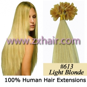 "Wholesale 100S 20"" Nail tip hair remy Human Hair Extensions #613"
