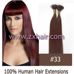 "Wholesale 100S 20"" Stick tip hair remy human hair extensions #33"