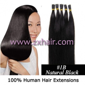 "Wholesale 100S 20"" Stick tip hair remy human hair extensions #1B"