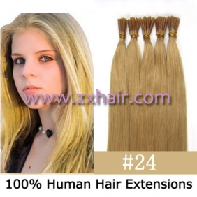 "Wholesale 100S 24"" Stick tip hair remy human hair extensions #24"