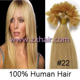 "Wholesale 100S 16"" Nail tip hair remy Human Hair Extensions #22"