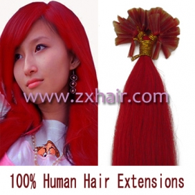 "Wholesale 100S 16"" Nail tip hair remy Human Hair Extensions #red"