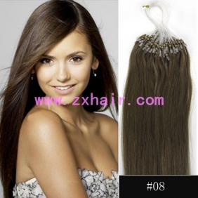 "Wholesale 100S 24"" Micro rings/loop hair remy human hair extensions #08"