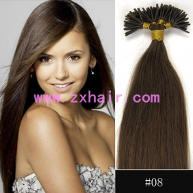 "Wholesale 100S 16"" Stick tip hair remy 0.4g/s human hair extensions #08"