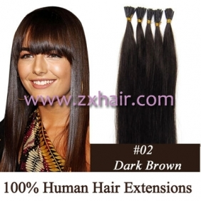 "Wholesale 100S 24"" Stick tip hair remy human hair extensions #02"