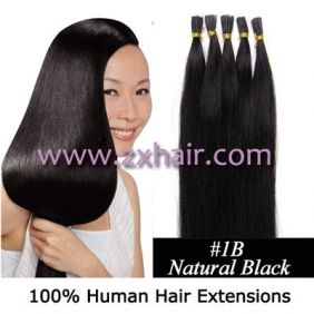 "Wholesale 100S 24"" Stick tip hair remy human hair extensions #1B"