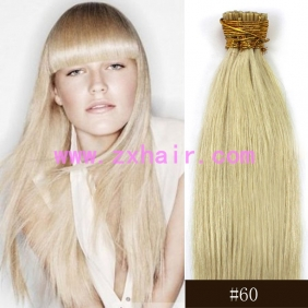 "Wholesale 100S 24"" Stick tip hair remy human hair extensions #60"