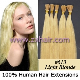 "Wholesale 100S 24"" Stick tip hair remy human hair extensions #613"