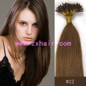 "Wholesale 100S 16"" Stick tip hair remy 0.4g/s human hair extensions #12"