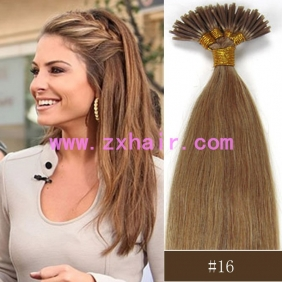 "Wholesale 100S 16"" Stick tip hair remy 0.4g/s human hair extensions #16"