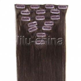 "Wholesale 15"" 7pcs set Clip-in hair remy Human Hair Extensions #02"
