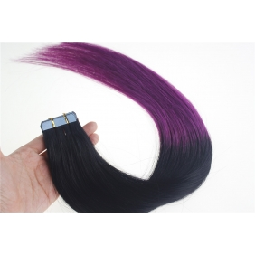"Wholesale 18"" 40g Tape Human Hair Extensions #01/purple Ombre"