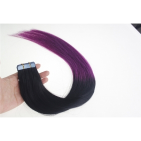 "Wholesale 24"" 70g Tape Human Hair Extensions #01/Purple Ombre"