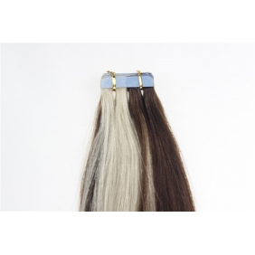 "Wholesale 22"" 60g Tape Human Hair Extensions #4/613 Mixed"