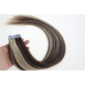 "Wholesale 16"" 30g Tape Human Hair Extensions #4/613 Mixed"