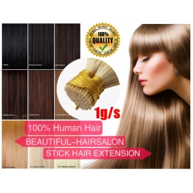 "Wholesale 100S 16""-22"" Stick tip hair 1g/s  human hair extensions 15 Colors Double Drawn"