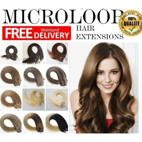 "Wholesale 100S 16""-22\"" Micro rings/loop hair 1g/s  human hair extensions 28 Colors  Double Beads"