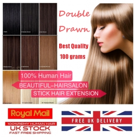 "Wholesale UK Stock 14 Colors  Double Drawn 100S 16""-22"" Stick tip hair 1g/s human hair extensions"