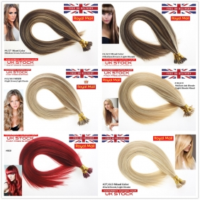 "Wholesale UK Stock Mixed Color  Double Drawn 100S 16""-22"" Stick tip hair 1g/s human hair extensions"