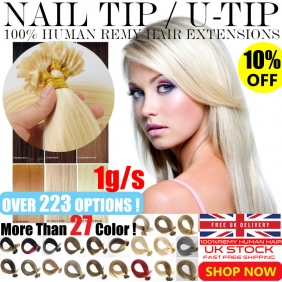 "Wholesale UK Stock 28 colors Double Drawn 100S 16""-22"" Nail U tip hair 1g/s  human hair extensions"