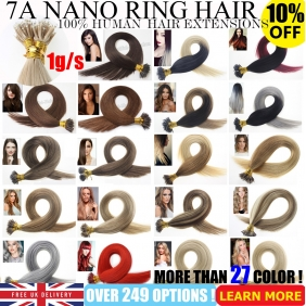 "Wholesale UK Stock 28 Colors  Double Drawn 100S 16""-22""  Nano hair 1g/s  human hair extensions"