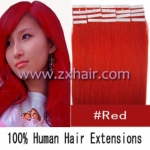 "22"" 60g Tape Human Hair Extensions #red"