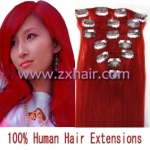 "18"" 7pcs set Clips-in hair 70g remy Human Hair Extensions #red"