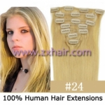 "18"" 7pcs set Clips-in hair 70g remy Human Hair Extensions #24"