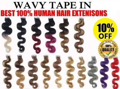 "18"" Tape In Wavy Human Hair Extensions 30gr-70gr 31 Colors"