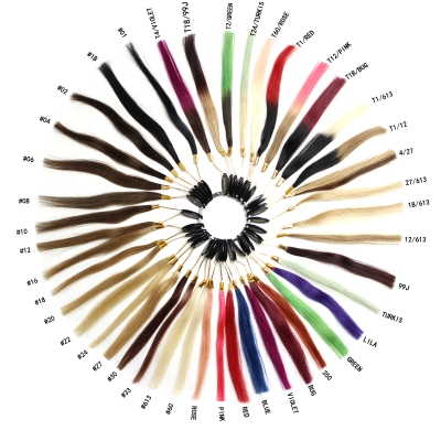A Color Ring With 43 Sample Human Hair Extensions & 115g each set NEW hot sale