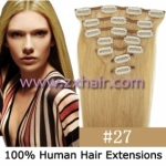 "20"" 7pcs set Clip-in hair remy Human Hair Extensions #27"