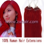 "100S 18"" Micro rings/loop hair remy human hair extensions #red"
