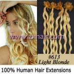 "100S 20"" Nail tip hair remy culry Human Hair Extensions #613"