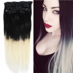 "18"" 7pcs set Clips-in hair 70g remy Human Hair Extensions #1/613 Ombre"