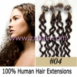 "100S 20"" remy Micro rings hair Curly human hair extensions #04"