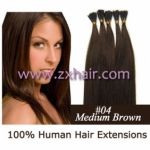 "100S 18"" Stick tip hair remy 0.5g/s human hair extensions #04"