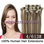 "20"" 8pcs set Clip-in hair remy Human Hair Extensions #4/613"