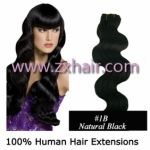 "20"" Wave remy Human Hair Weft/Extensions 50"" Wide #1B"