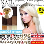 "UK Stock 28 Colors 16""-22"" Double Drawn 100S 1G Pre Bonded Nail U Tip Remy Human Hair Extensions 1 GRAM"