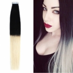 "18"" 40g Tape Human Hair Extensions #1/613 Ombre"