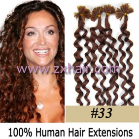 "100S 20"" Nail tip hair remy culry Human Hair Extensions #33"