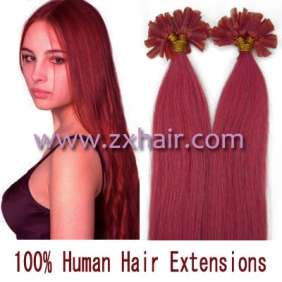 "100S 18"" Nail tip hair remy Human Hair Extensions #pink"